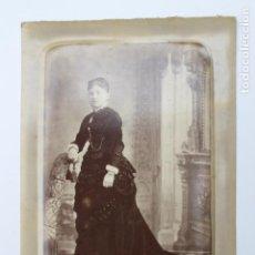 Fotografía antigua: FOTOGRAFIA DAMA CON JOYAS, FOTOGRAFO J. GENISCANS Y CIA. VALENCIA, ANTERIOR A 1900. Lote 245198985