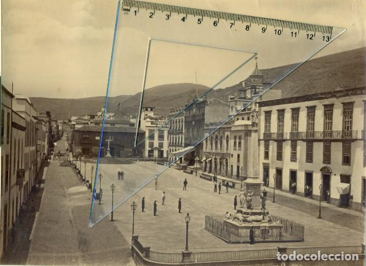 TENERIFE. PLAZA CANDELARIA. PALACIO CAPITANÍA GENERAL. HACIA 1878-1880. GRAN TAMAÑO. (Fotografía Antigua - Albúmina)