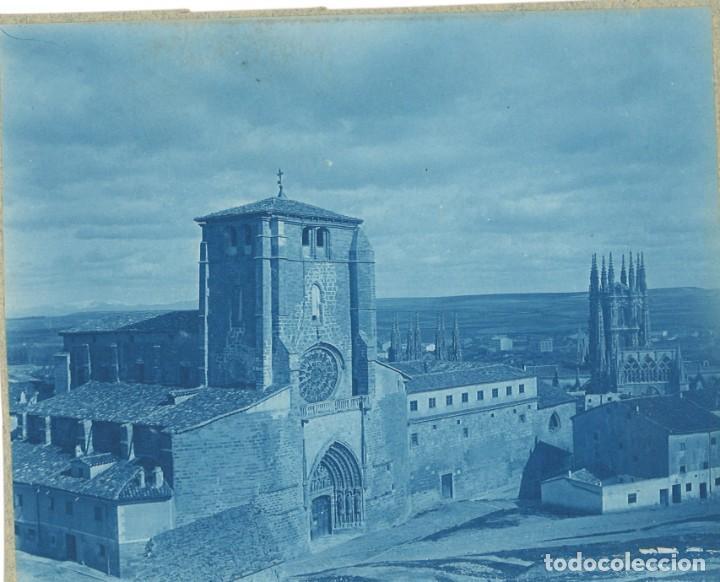 BURGOS SAN ESTEBAN Y CATEDRAL. 2 FOTOGRAFÍAS. CIANOTIPO Y ALBÚMINA 1889 (Fotografía Antigua - Albúmina)
