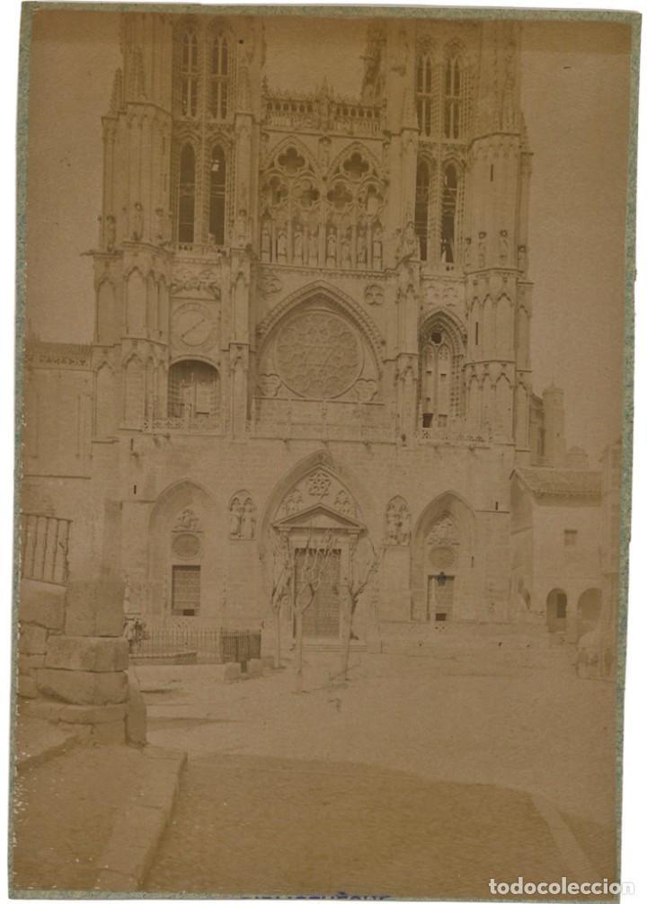 Fotografía antigua: Burgos La catedral Cianotipo y albúmina. 1889. Amateur. 2 fotografías - Foto 2 - 253551840