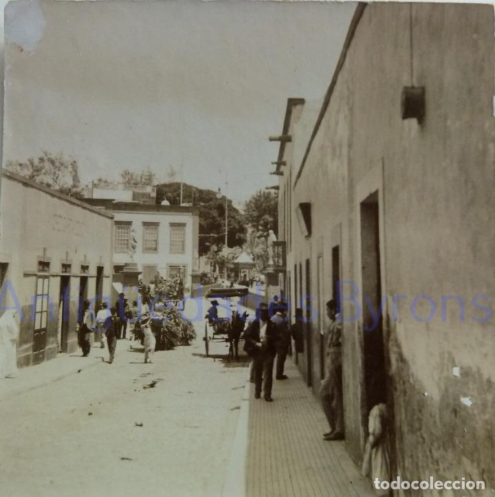 FOTOGRAFÍA ANTIGUA. LAS PALMAS DE G.C. CALLE OBISPO CODINA. SIGLO XIX (8 X 8 CM) (Fotografía Antigua - Albúmina)
