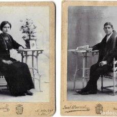 Fotografía antigua: LOTE 2 FOTOGRAFÍAS HOMBRE Y MUJER QUE SON PAREJA DEL FOTÓGRAFO SAÚL PASCUAL DE ALCIRA (VALENCIA). Lote 262835535