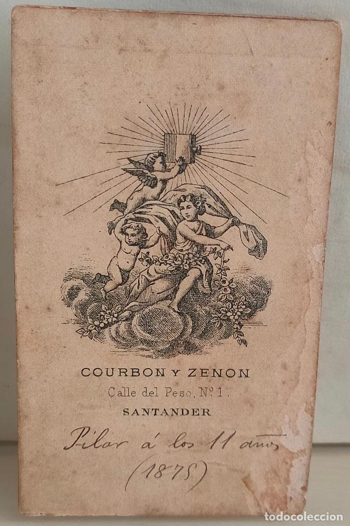 Fotografía antigua: Fotografia de niña de 11 años de primera comunión. Courbon y Zenon. Santander. 1879 - Foto 2 - 273732568