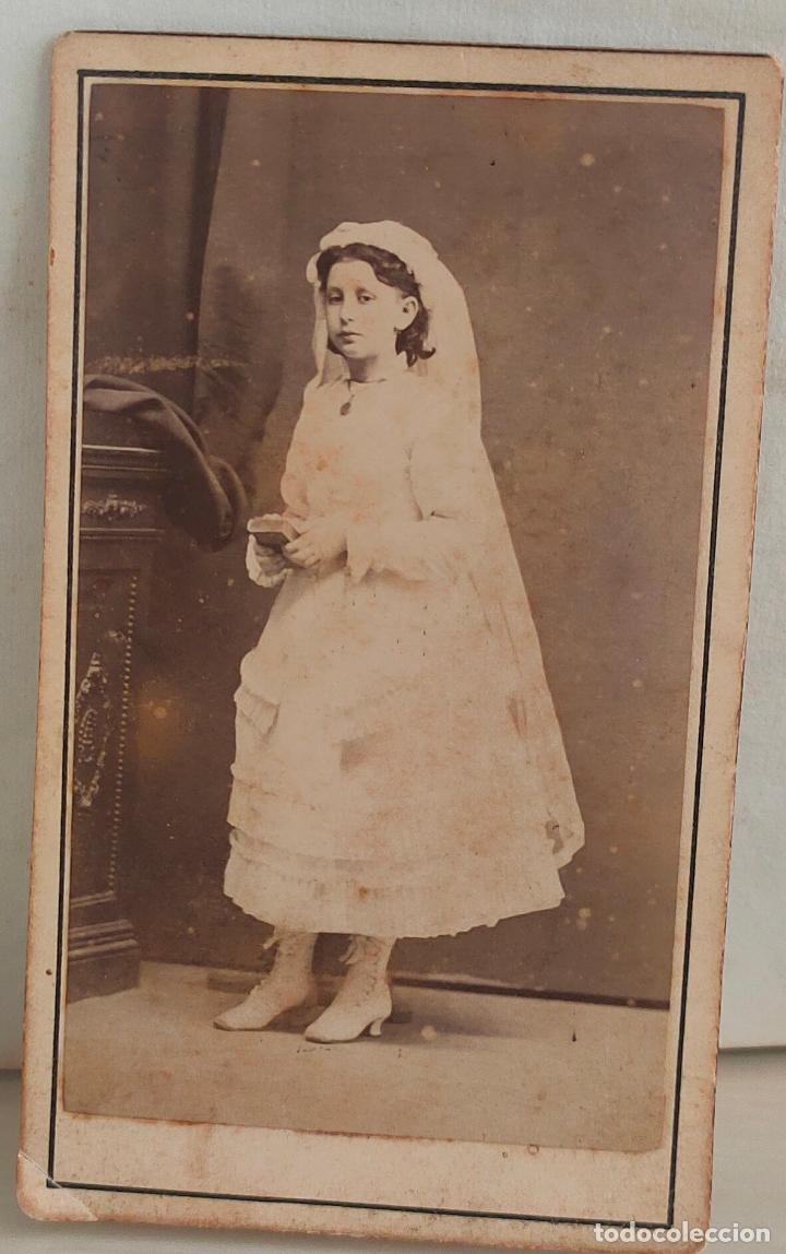 FOTOGRAFIA DE NIÑA DE 11 AÑOS DE PRIMERA COMUNIÓN. COURBON Y ZENON. SANTANDER. 1879 (Fotografía Antigua - Albúmina)
