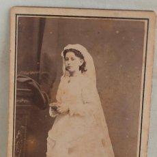 Fotografía antigua: FOTOGRAFIA DE NIÑA DE 11 AÑOS DE PRIMERA COMUNIÓN. COURBON Y ZENON. SANTANDER. 1879. Lote 273732568