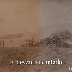 Fotografía antigua: ALBÚMINA SOBRE CARTÓN. CORTIJO. EMPLEADOS JUNTO PILA DE CORCHO. 17 X 12 CTMS. FOT. NACIONAL. MADRID. Lote 273950618