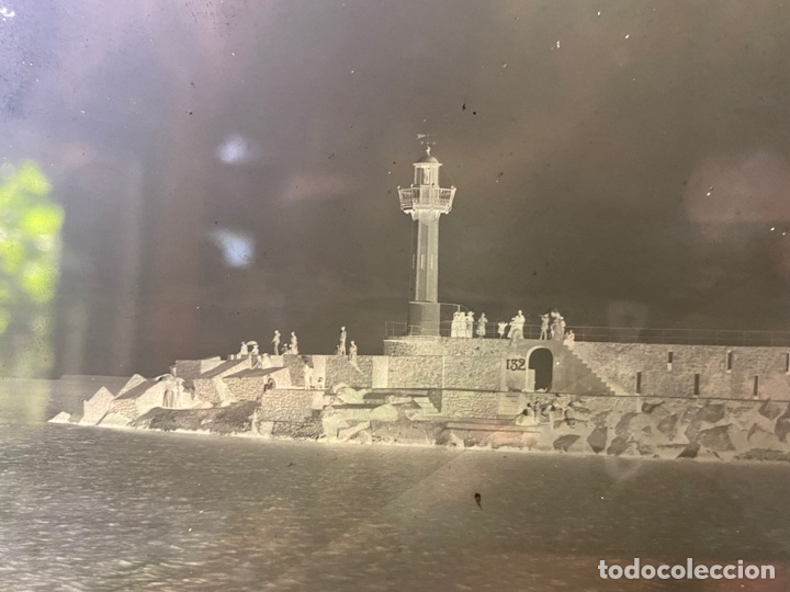 Fotografía antigua: Placa Cristal Negativo paisaje marítimo faro - Foto 2 - 276922663