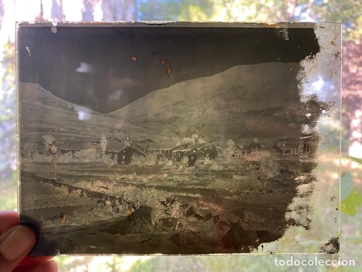 PLACA CRISTAL NEGATIVO PAISAJE PUEBLO MONTAÑA (Fotografía Antigua - Albúmina)