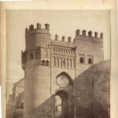Fotografía antigua: FOTOGRAFÍA ALBUMINA 1867CA J. LAURENT 33X 24CM. TOLEDO. LA PUERTA DEL SOL. Lote 277413948