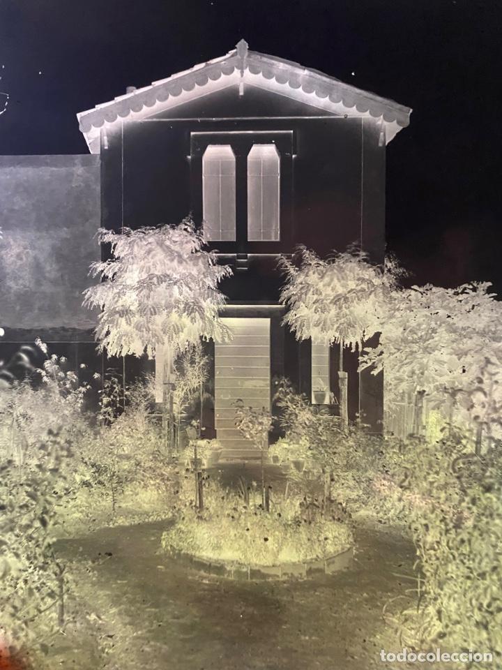 Fotografía antigua: Placa Cristal Negativo paisaje casa con jardín - Foto 2 - 277437353