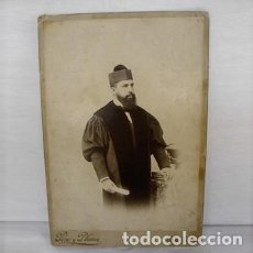 Fotografía antigua: ALBUMINA-J. DAVID SERRANO BARCELONA-DOCTOR MAGISTRADO TOGA BIRRETE-FOTOGRAFO PESO Y PLANAS-SIGLO XIX. Lote 291502213