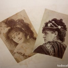 Fotografía antigua: FOTOGRAFÍA 2 ARTISTAS ESPECTACULO TEATRO SIGLO XIX ALBUMINA. Lote 293192773