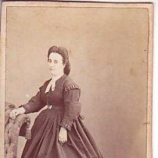 Fotografía antigua: RETRATO DE DAMA. LETRA AL REVERSO. FOT: MARTÍ BARCELONA. 1860'S. Lote 9320967