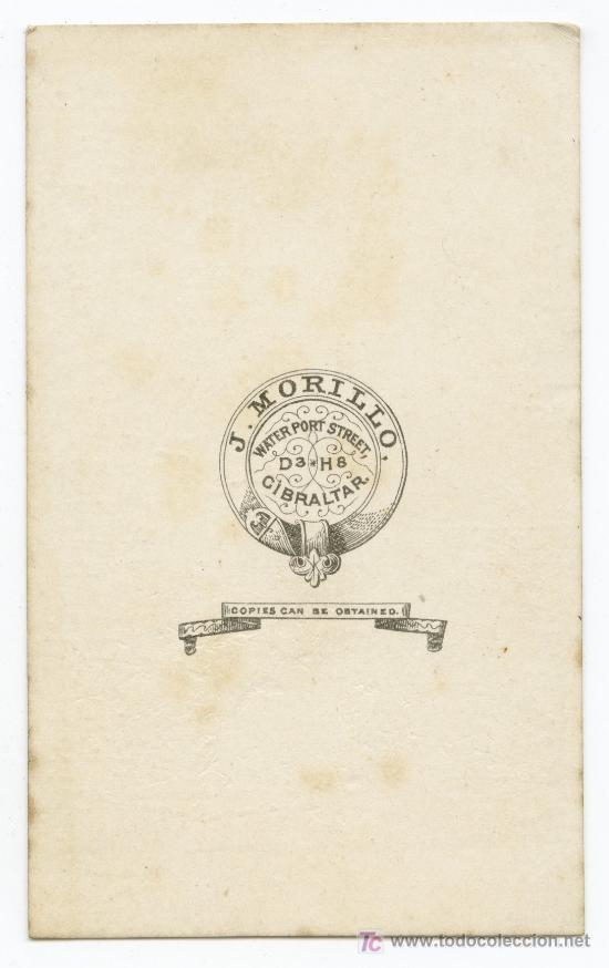 Fotografía antigua: GIBRALTAR. Espectacular dama y vestido. J. Morillo. Sobre 1865 - Foto 2 - 27043832