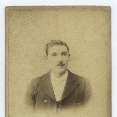 Fotografía antigua: CABALLERO CON BIGOTE. F: VDA DE ROGELIO LÓPEZ. BARCELONA. CA. 1885. Lote 14878548