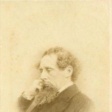 Fotografía antigua: ALBÚMINA ORIGINAL FORMATO CARTE DE VISITE DE CHARLES DICKENS. Lote 27256640