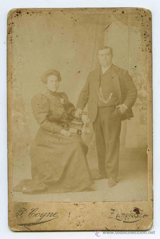 PAREJA. MATRIMONIO. F: J. COYNE. ZARAGOZA. FINALES S.XIX (Fotografía Antigua - Cartes de Visite)