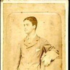 Fotografía antigua: CARTE DE VISITE. CDV. COLODIÓN. RETRATO DE JOVEN CARLITOS. 1902. Lote 27106048