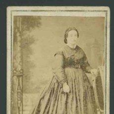 Fotografía antigua: ANAÏS NAPOLEON. PRIMERA SEÑORA FOTÓGRAFA DE ESPAÑA. RETRATO DE DAMA. C. 1865. Lote 27479170