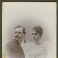 Fotografía antigua: FOTOGRAFIA ANTIGUA RETRATO MATRIMONIO FORMATO CDV. AÑO 1894 SEGUN INSCRIPCION FRONTAL . Lote 27575475