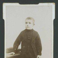 Fotografía antigua: ELEGANTÍSIMO NIÑO DE NEGRO. ALICANTE. F: B. FARACH. RAFAEL BERNABEU. CIRCA 1885. Lote 27610645