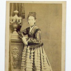 Fotografía antigua - RETRATO CDV DE DAMA, FOTO: PASCUAL Y JOFRÉ, BLANES. - 27785691