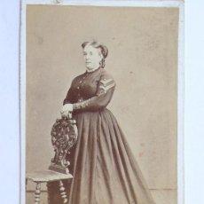 Fotografía antigua: RETRATO DE FEMENINO POR IDENTIFICAR, FOTO: JUAN MRTÍ, 1860'S. Lote 28565631