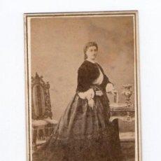 Fotografía antigua: BURGUESÍA CATALANA, DAMA POR IDENTIFICAR, 1860'S. FOTO: NAPOLEÓN. ÁLBUM DE J.PUIG LLAGOSTERA, VER.. Lote 29449661