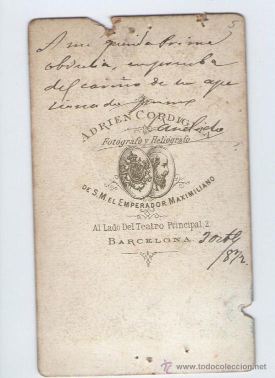 Fotografía antigua: retrato de militar dedicado y fechado, foto: Cordiglia, Barcelona, 1872. - Foto 2 - 31364711