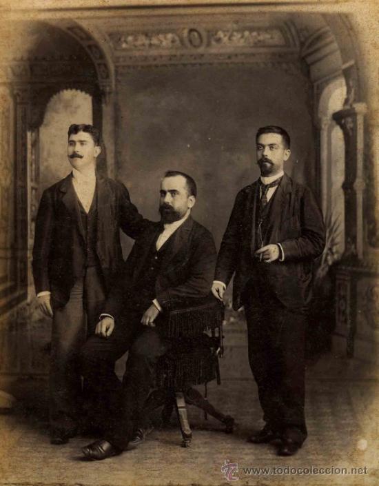 Fotografía antigua: Tres jóvenes caballeros españoles en la Habana. Otero y Colominas. Cuba. c. 1890 - Foto 3 - 32791944