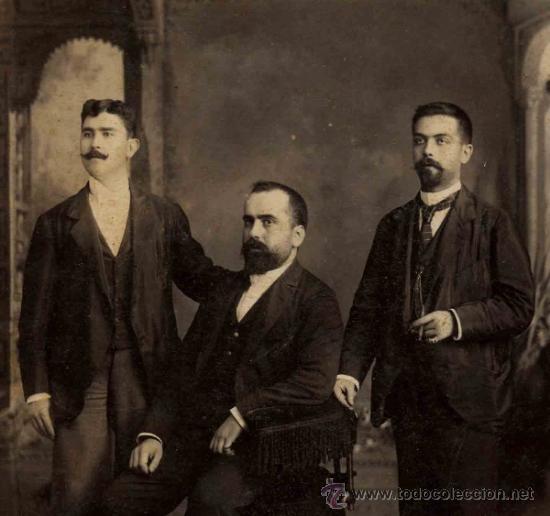 Fotografía antigua: Tres jóvenes caballeros españoles en la Habana. Otero y Colominas. Cuba. c. 1890 - Foto 2 - 32791944