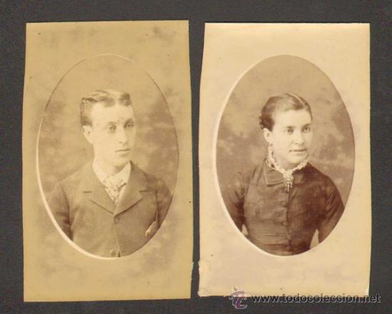 2 CARTAS DE VISITA/CARTE DE VISITE. CA.1870. BARCELONA. BUSTO PAREJA JOVEN (Fotografía Antigua - Cartes de Visite)