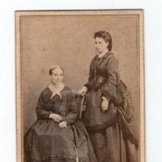 Fotografía antigua: RETRATO DE DOS MUJERES, FOTO: ROMÁN RIBAS, PALMA DE MALLORCA. 1860'S.. Lote 35810289