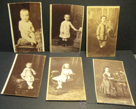 6 C.V. RETRATOS INFANTILES. SIGLO XIX. FOTOGRAFO NAPOLEON. BARCELONA (Fotografía Antigua - Cartes de Visite)