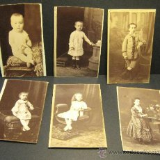 Fotografía antigua: 6 C.V. RETRATOS INFANTILES. SIGLO XIX. FOTOGRAFO NAPOLEON. BARCELONA. Lote 36784658