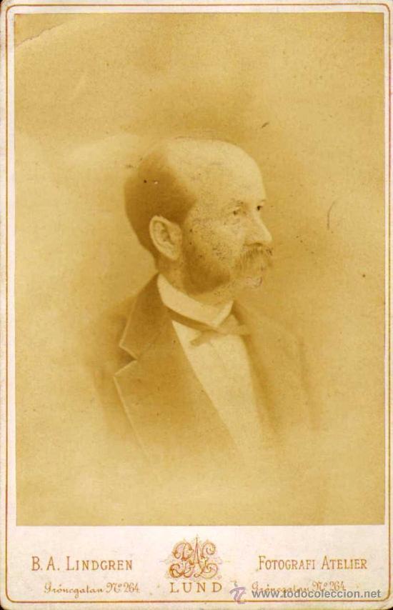 CARTA ALBUM / CABINET. FOTÓGRAFO:B.A. LINDGREN (LUND SWEDISH-SUECIA).EDUART LIDFORSS 1878 11X15 CM. (Fotografía Antigua - Cartes de Visite)