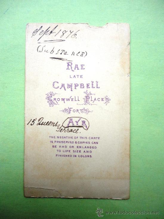 Fotografía antigua: FOTOGRAFÍA ANTIGUA SOBRE CARTÓN. CAMPBELL (10,5 X 6,5 CM). 1876 - Foto 2 - 38264501