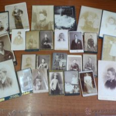 Fotografía antigua: LOTE DE 26 FOTOGRAFÍAS DE FINALES DEL S. XIX. CARTES DE VISITE DE DOS TAMAÑOS.. Lote 39967185