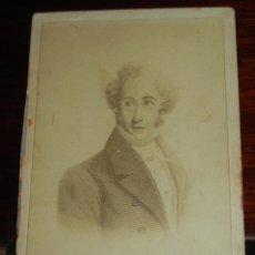 Fotografía antigua: FOTOGRAFIA ANONIMA. DEL GRABADO RETRATO DE MARTÍNEZ DE LA ROSA (1787-1862). MEDIADOS SIGLO XIX. CART. Lote 38287882