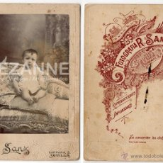 Fotografía antigua: RETRATO NIÑO. 16,5 X 11 CM. FOTOGRAFO R, SANZ. SEVILLA.. Lote 42795575