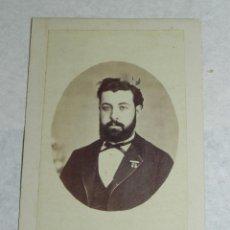 Fotografía antigua - FOTOGRAFIA ALBUMINA CDV DE CABALLERO, FOTOGRAFIA DE J. SANCHEZ de Madrid, SIGLO XIX, MIDE 10,5 X 6,7 - 43088202