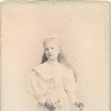 Fotografía antigua: ZARAGOZA, 1897, MAGNIFICA CDV DE UNA NIÑA DE COMUNION,FOT.ESCOLA,105X165MM. Lote 43322216