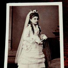 Fotografía antigua: FOTOGRAFIA ALBUMINA TIPO CDV, FOTO RAMON DEL FRESNO, OVIEDO, MIDE 10,5 X 6,5 CMS.. Lote 43527713