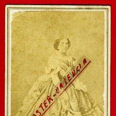 Fotografía antigua: FOTO REINA DE ESPAÑA ISABEL II , FOTOGRAFIA BURNHAM HASELTINE ,TARJETA VISITA, ORIGINAL,L. Lote 46317059