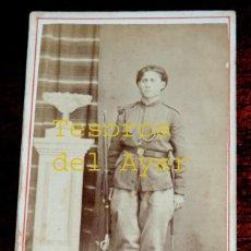 Fotografía antigua: FOTOGRAFIA ALBUMINA DE SOLDADO CARLISTA, CARLISMO, MEDIADOS SIGLO XIX, MIDE 10,5 X 6,5 APROX.. Lote 46376722