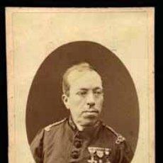 Fotografía antigua: MILITAR CONDECORADO. BONITA FOTO DE MILITAR. F: AREÑAS. C. 1880. Lote 46615383