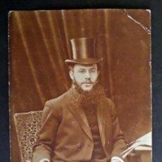 Fotografía antigua: FOTO-POSTAL DE CABALLERO EN PARIS DEL AÑO 1906. VER FOTO DEL REVERSO.. Lote 46677192