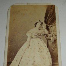 Fotografía antigua: ANTIGUA FOTOGRAFIA. S.XIX. CONDESA PRIEGUE. FOTOGRAFO J. GAUTIER - MADRID. Lote 48105001