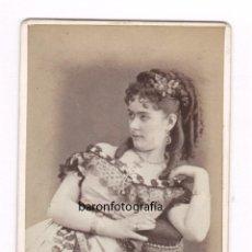 Fotografía antigua: RETRATO DE ACTRIZ POR IDENTIFICAR, FOTO: JUAN MARTÍ , BARCELONA. 1870'S.. Lote 49999650