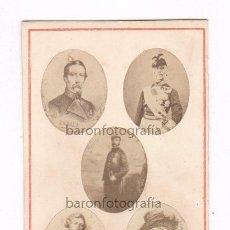 Fotografía antigua: GENERALES PRIM, ZABALA,COTONIER, NELSON, CROMWELL. GENRALES EUROPEOS, FOTO: VIRENQUE, PALMA MALLORCA. Lote 50317847